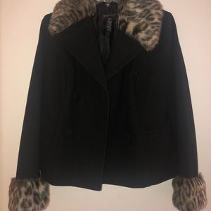 Wool Coat with Leopard Faux Fur